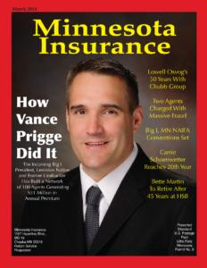 Atlas President Vance Prigge on cover of Minnesota Insurance Magazine