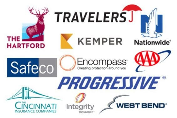 Travelers, The Hartford, Nationwide, Kemper, Safeco, Encompass, AAA, Progressive, Cincinnati, Integrity, West Bend